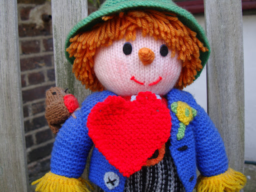 Jack the Scarecrow sports a knitted heart