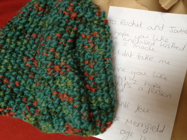 Hat made by 12 year old Phoebe. Isn't it cool?