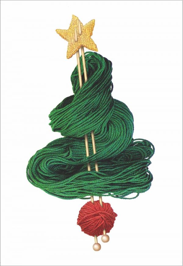 A rectangular Christmas card of a pair of knitting needles on a white background. Around the knitting needles is laid out green yarn in the shape of a Christmas tree, with a ball of red yarn at the bottom and a yellow knitted star at the top.