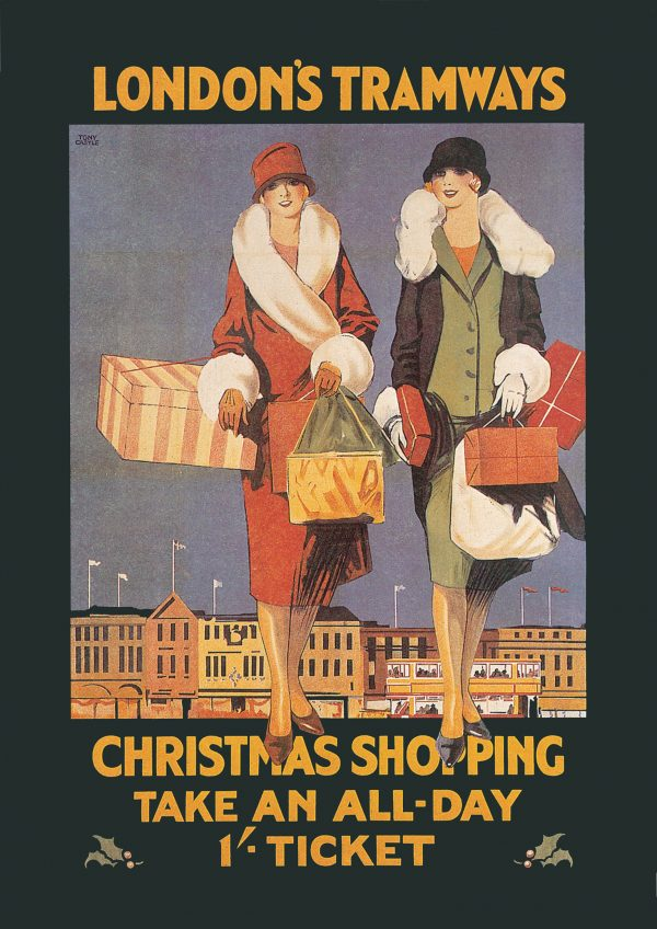 An old-fashioned advert for London's Tramways as a greetings card. The front shows two women dressed in warm coats, doing their Christmas shopping.