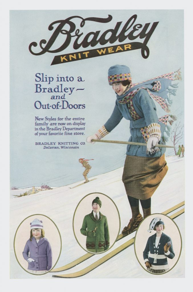 An old fashioned knitwear advert as a greetings card