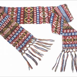 A greetings card with a picture of a woollen scarf